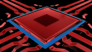 Advanced technology red colored chip, illustrating next gen chip converting laser beam to single photon